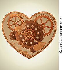 Steampunk heart - Vector mechanical heart in the style of...