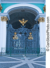 main gate of Hermitage with double-headed eagle
