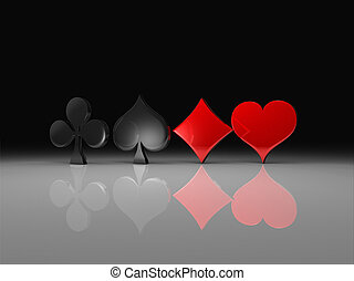 Clubs, spades, hearts and diamonds - Rendering showing the...