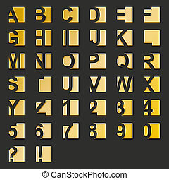 Golden type-squares - Illustration of golden type and...
