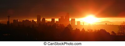 Seattle Sunrise - Day break over Seattle city
