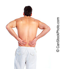 Back pain. - Young man having a Back pain. Isolated on white...