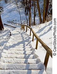 stairs handrail steep mountain covered snow winter