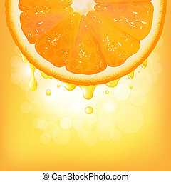 Orange Segment With Juice And Bokeh, Vector Background