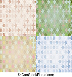 Vintage Harlequin Backgrounds Set - 4 Vintage Harlequin...