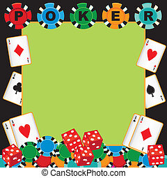 Poker party gambling invitation with poker chips, playing...