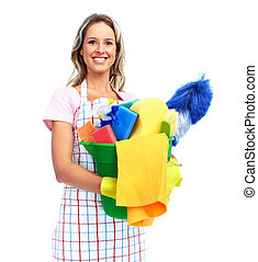 Young smiling cleaner woman Housewife Isolated over white...