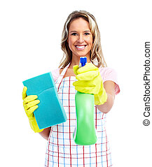 Young smiling cleaner woman. Housewife. Isolated over white...