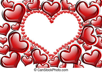 Red Hearts background - Red hearts with a copy-space of a...