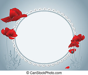floral border with red poppies