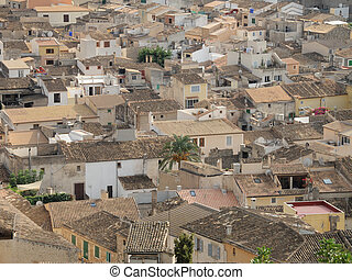 Roofs - Roof landscape of the ancient town Art?, Majorca,...