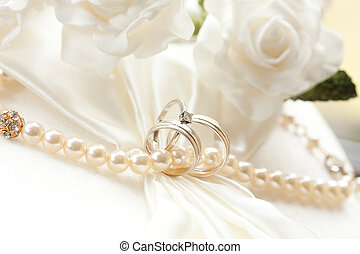 Wedding rings - wedding rings isolated on light background