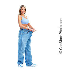Weight loss Getting slim woman Isolated on white background...