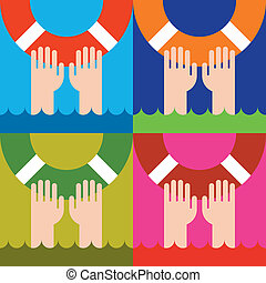 life buoy - icon of life buoy and hands in water