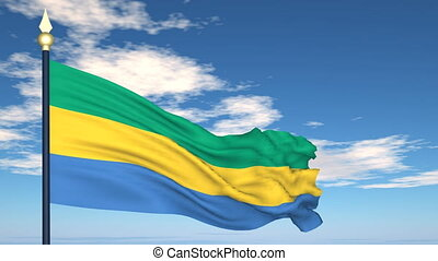 Flag Of Gabon on the background of the sky and flying clouds...