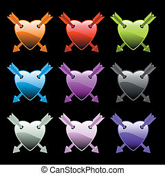 hearts with arrows - set of colorful hearts with arrows
