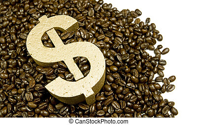gold dollar in coffee beans