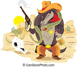 Wild West Armadillo - A rough and tough sheriff with pet...