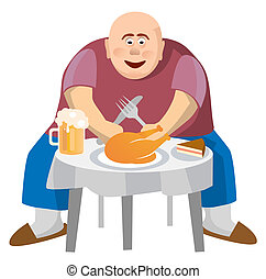 Fat man at a crowded table. Isolated on white background....