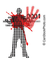 Victim of violence - Raster male silhouette with...