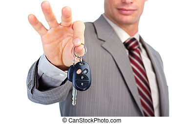 Car key. - Hand with a car key.