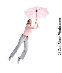 Woman flying with umbrella.