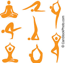 Icons_yoga_asanas - Icons of eight different yoga positions...