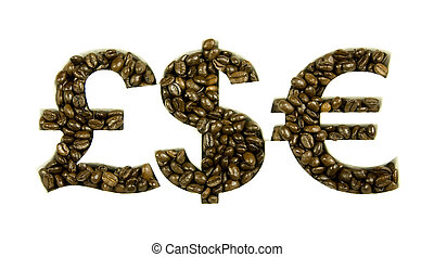 coffee beans in money shapes