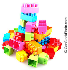Plastic building blocks on a white background