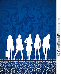 girls silhouettes on blue pattern
