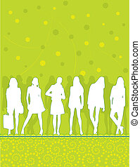 girls silhouettes on green pattern