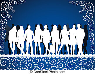 young peoples silhouettes on blue pattern