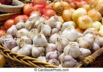 Garlic and Onion Bulbs Closeup - Garlic and Onion Bulbs...