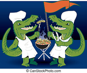 Grilling Tailgators - Alligator twins cooking out before for...