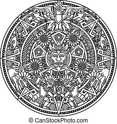 Aztec Mandala - Line art based on the aztec calendar