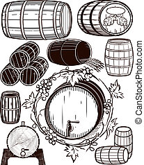 Barrel Collection - A clip art collection of beer and wine...