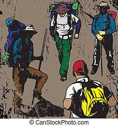 Grunge Backpackers - Backpackers with a stone grunge texture...