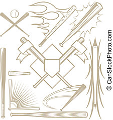 Baseball Bat Collection - A clip art collection of various...