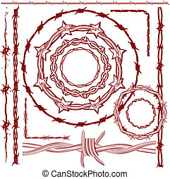 Rusty Barbed Wire Collection - Clip art collection of red...
