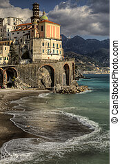 Atrani, italian fishing village, beach ed church