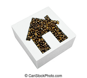 coffee beans in house shape