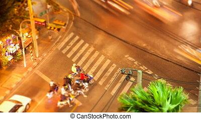 Timelapse Bangkok street crossing - Timelapse tilt-shift...