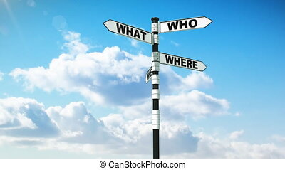 Signpost of Questions and Answers - Signpost with common...