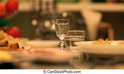 drinks and snacks - glass of alcohol on the table, drinks...
