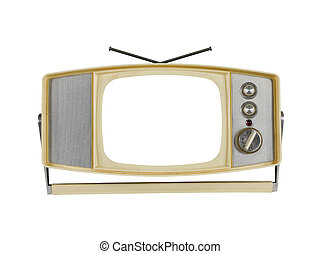 1960's Portable Television with Blank Screen and Handle Stand