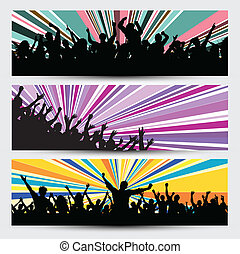 Party crowd banners - Collection of three different party...