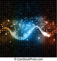 Music notes disco lights background