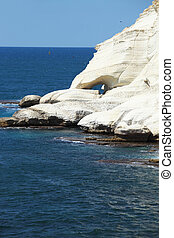 White rocks and grottoes Rosh-a-Nikra Picturesque sea coast...