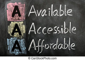 Acronym of AAA - available, accessible. affordable written...