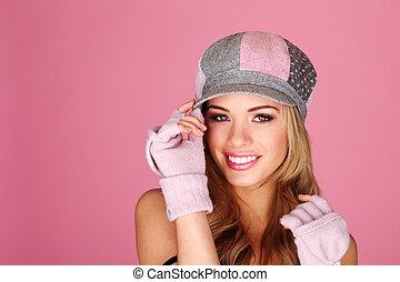 Beautiful Girl In Peaked Cap